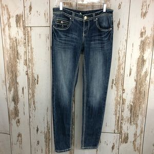 Almost Famous Skinny Jeans, Size 9. Sandblasted.
